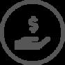 Icône main avec symbole d'argent