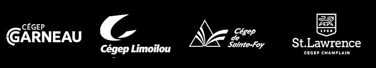 Logos en blanc du Cégep Garneau, Cégep Limoilou, Cégep Ste-foy, Cégep Champlain St-Lawrence